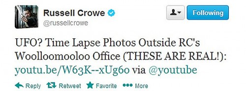 tweet de Russell Crowe Ufo 2013