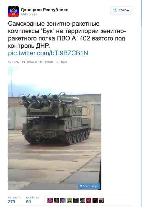Tuit guardado en el caché donde el ejército de Donetsk presume de su nueva arma en el arsenal.