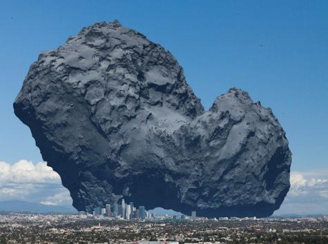 El cometa Rosetta en comparación con la ciudad de Los Ángeles