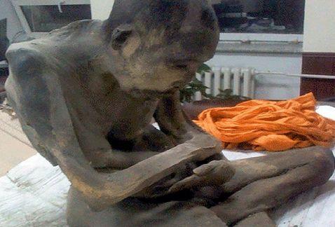 Momia en posicion de loto